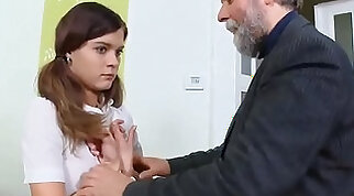 Innocent schoolgirl is seduced and pounded by her aged mentor