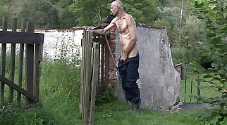 Horny GF cheats outdoors with her BF's dad
