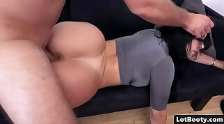 Latina with a fat fake butt is getting fucked in the living room