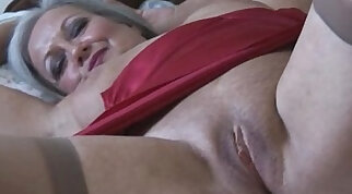 Blonde granny in stockings screwed up good