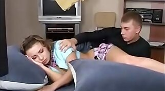 Real sleeping sister fucked by brother