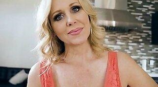 Stepmom shows stepson the ways of sex in the kitchen