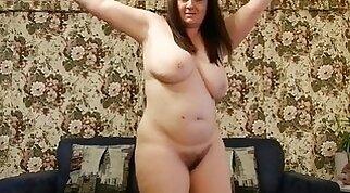 Busty chubby girl stripping on webcam