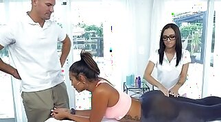 Stepsister helps out with getting her a massage license