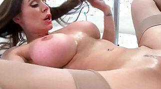 Busty pornstar Kendra Lust rides cock on a stretcher