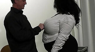 black hottie with small fake boobs is riding a fat prick