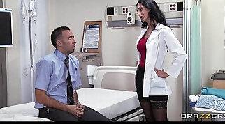 Big tit brunette slut doctor Ava Addams rides patients dick anal