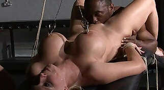 Interracial domination of German Melanie Moon and pussy licked blondes