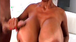 Awesome busty brunette creampied for silk knee boots