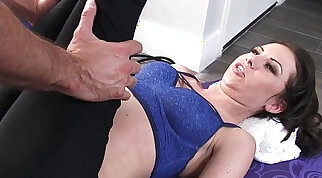 Big breasted chick on top of a dangling hard cock is drilling her cunt