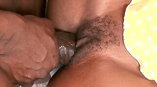 Black babe gets fucked after blowjob and suck