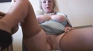 Curvy mature british lady in stockings strips and poses
