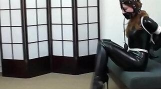Beautiful brunette girl bondage gagged