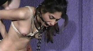 Big boobed Indian lezdom fetish Naomi plays with her bondage and rough