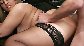 Chubby chick fucked in the kitchen by the employees