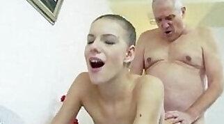 Customer creampie by grandpa under shower