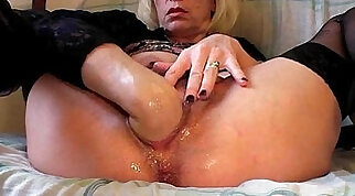 CrossDresser Pumps Stockings And Assload On Her Hairy Penis
