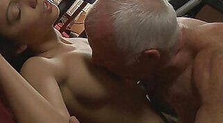 Young maid tastes hers old boss cock