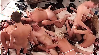 Boys bent over for horny group male fuck action